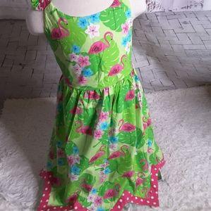 3/$30 Bonnie Jean tropical flamingo dress sz 6